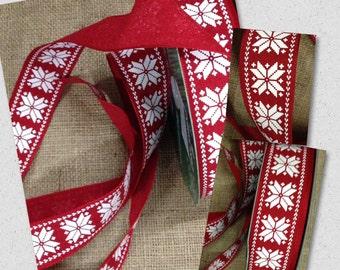 "New Red & White Snowflake Ribbon 1-1/2"" Wired Fabric Ribbon, Christmas Snowflakes Ribbon"