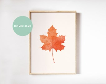 Leaf printable, autumn printable, leaf printable, Thanksgiving art, fall leaves, watercolor leaf print, autumn watercolor, fall wall decor