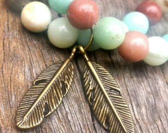 Amazonite gemstone bracelet. Boho style. Plain,  feather or tree of life charm.