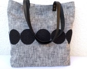 Linen tote bag, Large tote, Organic linen bag, Shoulder bag, Summer bag, Casual tote, Beach bag, Carry all bag, real leather handles