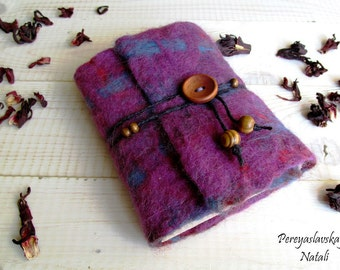 A6 -Womens gift Handmade notebook, Fabric cover notebook, softbook, Sketchbook, purple notebook