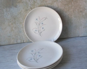 Mid Century Windemere 4 Bread and Butter Plates Taylor, Smith and Taylor, Ever Yours, 1950s  Aqua and Pink Floral, Atomic