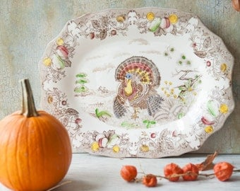 Large Turkey Platter Transferware, Made in Japan by Wales, Tom the Turkey Plate, Autumn Serving Platter, Thanksgiving Plate, Holiday Server