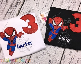 Spiderman Birthday Shirt, Personalized Spiderman, Boys Appliqued Shirt, Kawaii Spiderman, Boys Birthday Shirt, Full Body Spiderman, Birthday