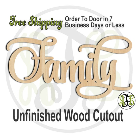 Family - 320004- Christmas Cutout, unfinished, wood cutout, wood craft, laser cut wood, wood cut out, Door Hanger, wooden sign, wall art