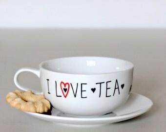 Cup of tea + saucer I LOVE TEA/ customized / phrase / name/ gift idea / Chic / handmade