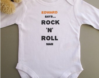Personalised Baby Grow - Rock N Roll Design