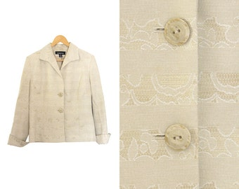Vintage beige blazer. Oatmeal jacket. Blazer jacket. Womens jacket. Made in Canada.