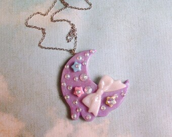 Shimmering Moon Necklace Pastel Kei Necklace Fairy Kei