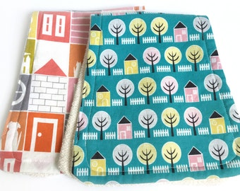 Organic shower gift girl - houses - shower gift girl - absorbent French terrycloth; organic baby gift; organic drool cloth; baby burp cloths