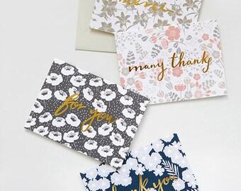 1 x Blank Card SET / Floral Garden Message Card / 4 Type