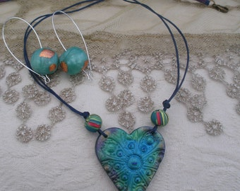 Turquoise blue and  green heart pendant, pearly textured heart, bohemian chic, handmade beads, girly gifts