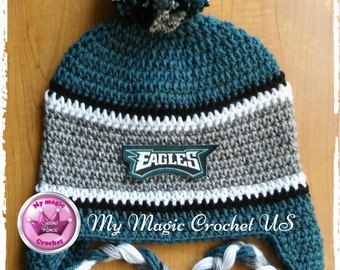 Philadelphia Eagles Crochet Hat  Made with Soft yarn