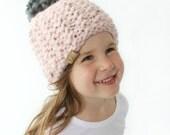 Chunky Knit Hat Pattern - PDF Knitting Pattern, Super Bulky Beanie, Chunky Pom Pom Hat, Baby, Toddler, Child & Adult (Womens) Sizes