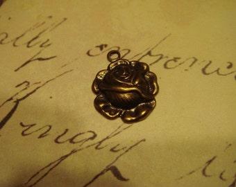 Antique brass rose charm 6