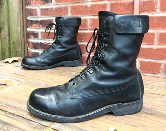 Vintage Addison Black Leather Combat Military Jump Field Boots Men's Sz. 10 D