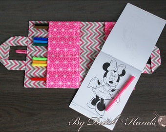 Crayon wallet for children - Pink and white with stripes