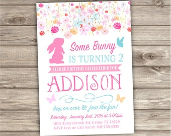 2nd Birthday Invitations Some Bunny is turning Two Spring Flowers Butterfly Invitations Bunny invitation Easter NV032