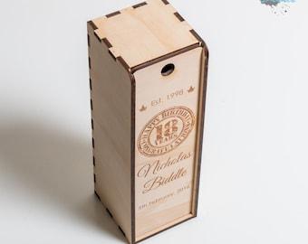 Wooden Rum Box - Single Bottle - Laser Engraved - Personalised Gift Box - Custom Rum Box