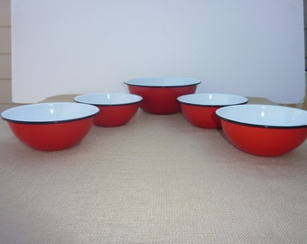 Vintage 70's Enamelware Set of 1 Mixing Bowl and 4 Salad/Cereal Bowls, Red