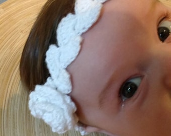 Krista's Headband, Floral/leaf crocheted headband for baby girl