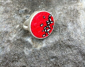 unique micromosaic ring with bright red, black and white abstract design
