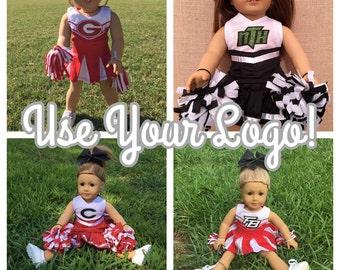 Custom Doll Cheerleader Uniform using your logo or monogram