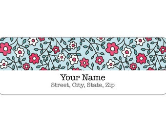 120 Labels - Label M0305 : Pink & Yellow Flower Pattern with Blue Background