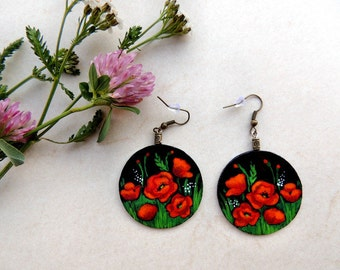 Red poppies earrings, flower earrings, romantic earrings, gift for her, romantic jewelry, handpainted earrings, cardboard jewelry