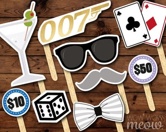 50 Photo Booth Props Printable James Bond 007 Party INSTANT DOWNLOAD Spy Casino Photo Cards Secret Agent Birthday Cards Games Bowtie Picture