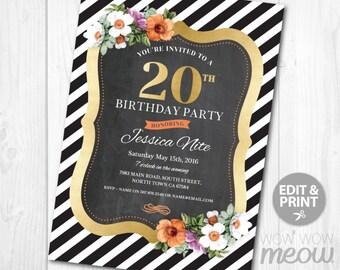 20th Birthday Invitation Stripe Elegant Gold Dinner Party Invite INSTANT DOWNLOAD 20 Twenty Surprise Elegant Personalize Customize Printable