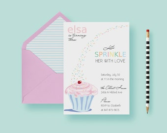 Kids Sprinkle Birthday Party Invitation, Sprinkle Cupcake Birthday Invite, Pink One Year Old Birthday - Printable or Printed - FREE SHIPPING