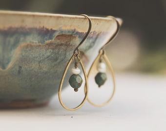 Antique Brass Aqua Teardrop Earrings, Delicate Teardrop Earrings, Boho Earrings, Aqua and Pearl, brass geometric earring, minimalist earring