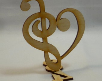 From a musical note with a bass clef heart 17 cm tall from wood