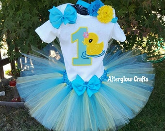 Duck Tutu,  Duck Birthday Outfit,  Duck Birthday Tutu, Rubber Ducky Tutu Set, Rubber Ducky Birthday Outfit, Rubber Duck Tutu, Duck Outfit