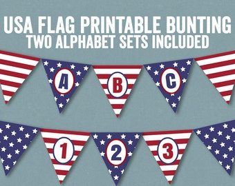 USA flag bunting, Alphabet set of 2, printable flag bunting, downloadable party decor, alphabet american banner pdf, american flag banner