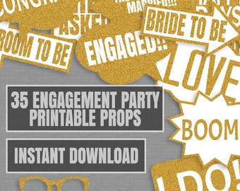 35 Gold Glitter Engagement Party Game Printable Props, Engagement Party Photo Booth Props, Engagement party, diy photobooth selfie station
