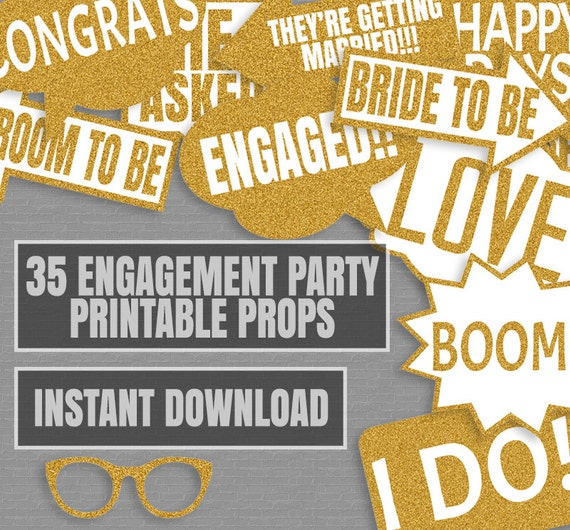 Engagement Party Games: 35 Gold Glitter Engagement Party Game Printable Props