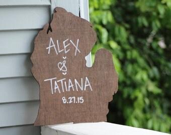 Michigan Sign | Wedding Sign | Custom Michigan Sign | Personalized Sign | Michigan Decor | Mr and Mrs | Michigan Wedding | Gift for Couple