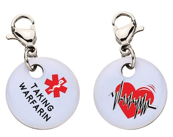 Taking Warfarin Medical Alert Bracelet Charm,90
