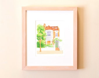 Custom illustrated house portrait - Medium