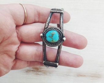 vintage southwestern silver turquoise cuff