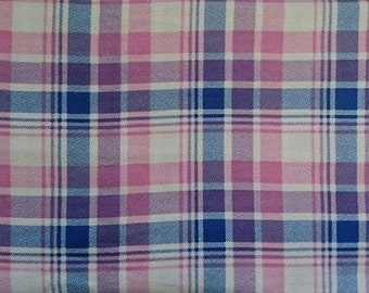 "Flannel, purple pink white check fabric, 100cm (1 m) (39 "")"