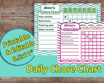 "Chore chart,Kids Chore Chart, Printable Chore Chart,  Children Chore Chart, Task Checklist INSTANT DOWNLOAD – 8.5x11"" editable"