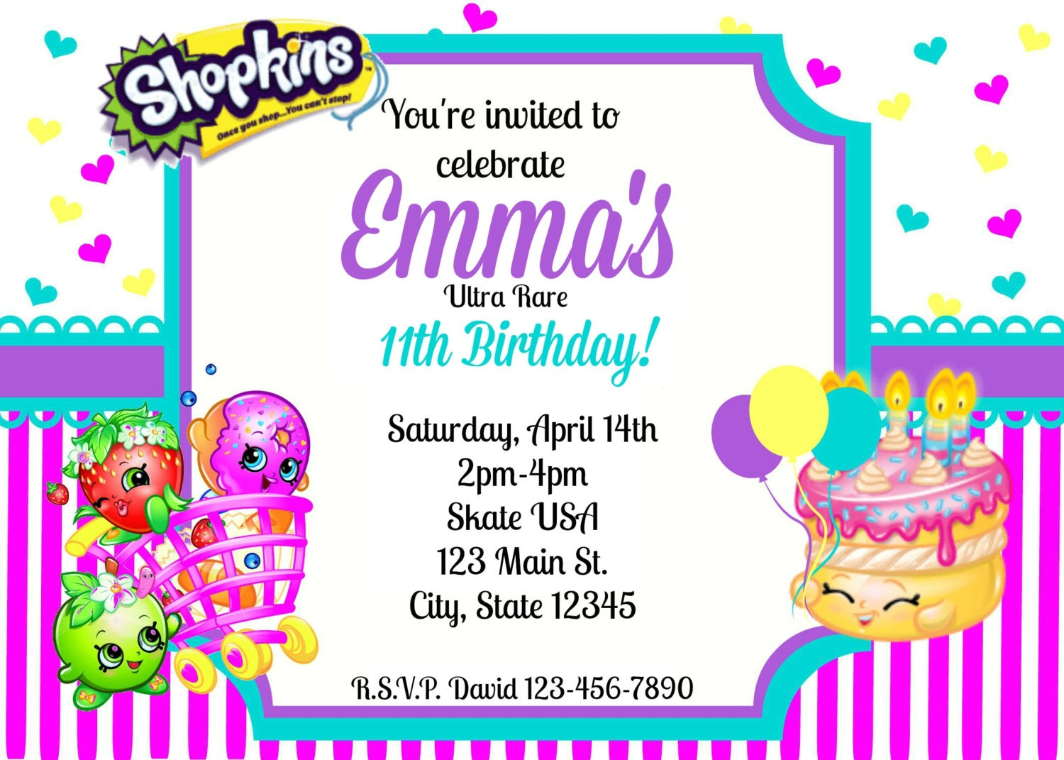 photograph regarding Shopkins Printable Invitations named Shopkins Invites Template: Awesome Absolutely free Printable Shopkins