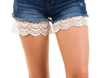 Crochet Lace Shorts Extender | Skirt Extender Ivory