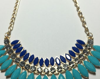 Crystals, Aqua And Blue Resin Statement Necklace ON SALE