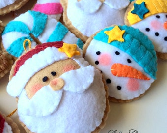 Felt Christmas Ornaments / Cookie felt Ornaments / Felt Ornaments