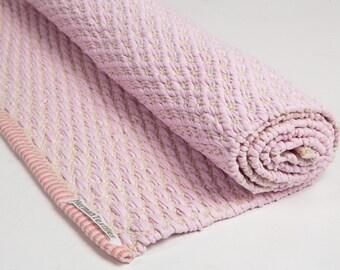 Baby Pink And White Rug, Cotton Rug, Baby And Kids Rug, Handmade On