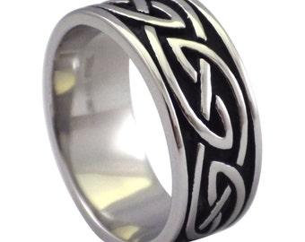 Celtic Ring | Stainless Steel Black Celtic Ring Size 7, 8, 9, 10, 11, 12, 13, 14, 15 | Black Celtic Rings